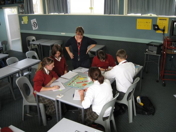 Accounting students playing monopoly